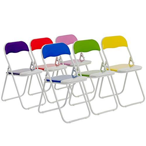 Chaises pliantes rembourrées - pour le bureau - bleu, vert, rose, violet, rouge, jaune - lot de 6