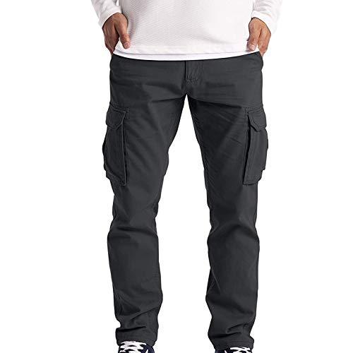 Herren Cargohose Cargo Trousers Work Wear Combat mit 6 Taschen | Lange Regular Fit Cargo Chino Hose Baumwollhose Chinohose Freizeithose Stoffhose aus Stretch Material für Männer (Schwarz, 4XL)