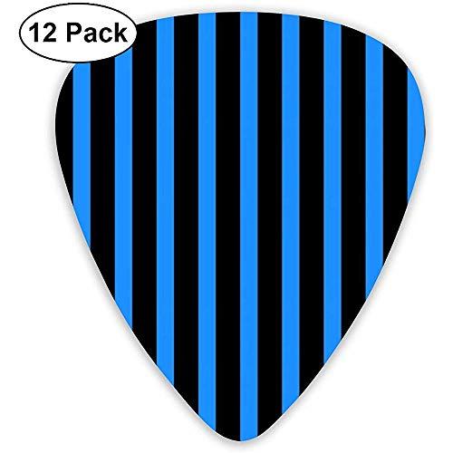 Black Blue Stripes gitaar pick set gitaar bas mandolines ukelele 0,46 mm 0,71 mm 0,96 mm verpakking van 12 plectrum plectrum houder