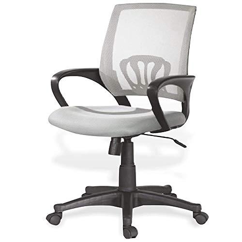 BAKAJI Kite - Silla de escritorio giratoria con reposabrazos y ruedas, altura ajustable (gris)