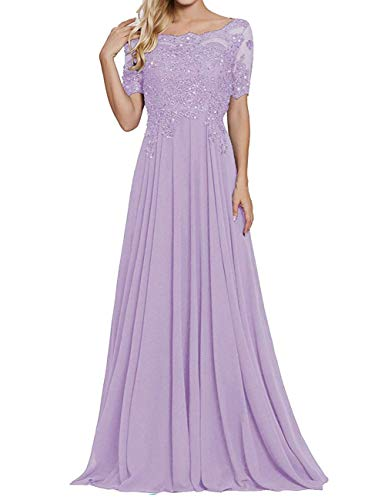 Chiffon Formal Dresses Plus Size Mother of The Bride Dress Long Evening Gowns Lavender US16W
