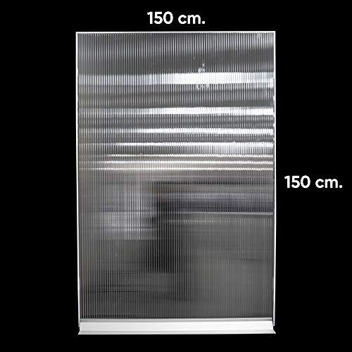 Mampara de protección de policarbonato celular | separador para industrias, fabricas, puestos de trabajo, hostelería y restaurantes (150 cm ancho x 150 cm alto)