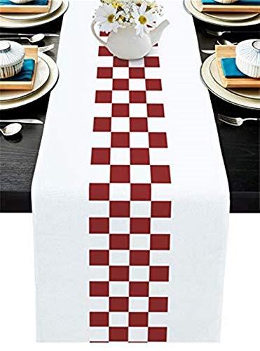 Chemin de Table de Pâques,décoration de Ferme Vichy Buffalo Check Plaid Rectangle Rouge foncé et Blanc Écharpes de Commode en Toile de Jute pour la fête,Le dîner,la décoration de Table,13x70in