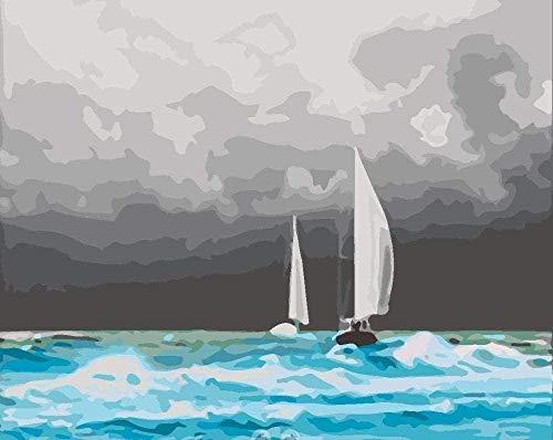 NumbersDigital PaintingDIY olieverfschilderij Boat Yang Fan Tract Hand Drawn Action Schilderij Canvas DIY XDigital Painting Digital Painting 40 x 50 cm (zonder frame) Home Decor