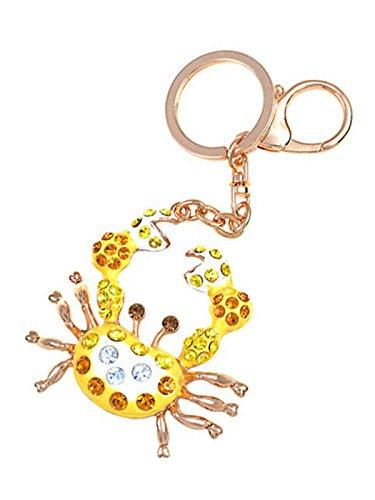 Alilang Gouden Toon Veelkleurige Swarovski Kristal Elementen Emaille Krab Vorm Hanger Sleutelhanger