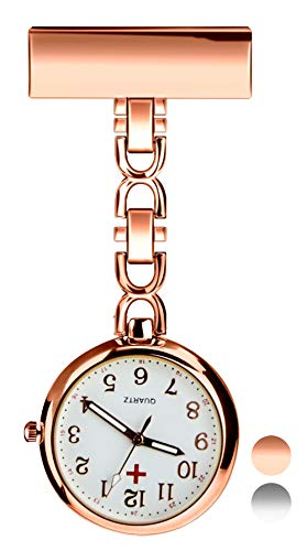 Herren Damen Analog Uhr - Revers Pin Klammer on Brosche hängen Taschenuhr/Krankenschwesteruhr/Pulsuhr/Kitteluhr Pflegeuhr, Schwesternuhren für Doktor Krankenschwester Paramedic Rose Gold