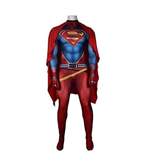 MODRYER Superman-Kostüm Superheld Cosplay Bodysuit Halloween Role Play Jumpsuit Lycra Spandex Zentai Movie Fans Bekleidung Film Kostüm Props,with Cloak-Adults/XXXL 180~185cm
