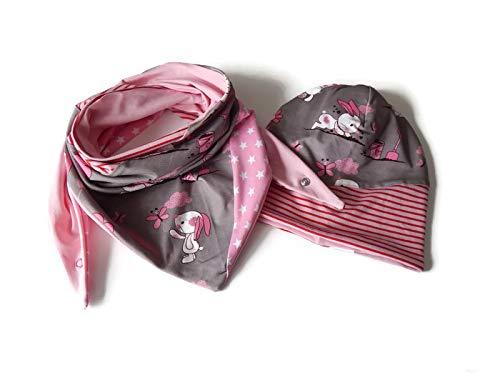 Beanie Set Gr. 51-54, Wendebeanie und Dreieckstuch in braun mit dem Knuddelbuddelhasen, kombiniert mit Sternenjersey, Ringeljersey und Unijersey in rosa. 95% Baumwolle, 5% Elasthan