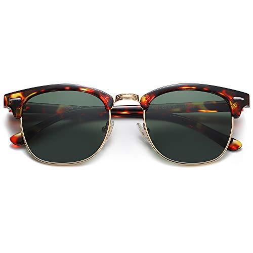 SOJOS SJ5018 - Gafas de sol semipolarizadas con borde de media cuerno