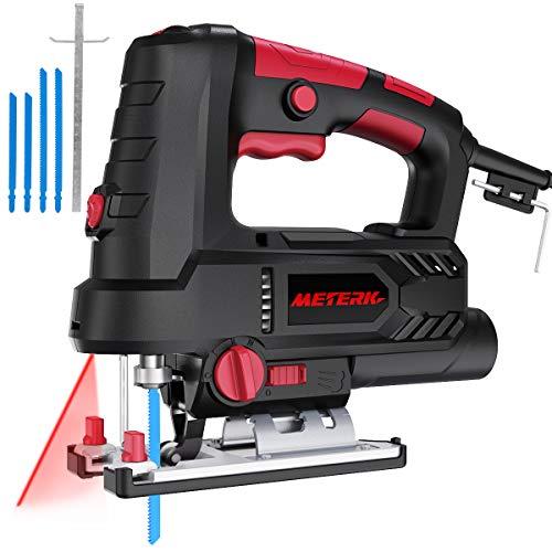 Scie Sauteuse 800W Meterk avec laser et LED 6 Vitesses Réglables Angle Max 45°coupe équipée de 4 Lame, Clé allen et Guide de...