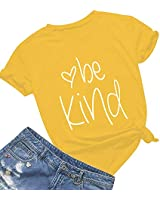 Be Kind T Shirts Women Cute Graphic Blessed Shirt Funny Inspirational Teacher Fall Tees Tops (XL, Yellow01)