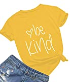 Be Kind T Shirts Women Cute Graphic Blessed Shirt Funny Inspirational Teacher Fall Tees Tops (S, Yellow01)