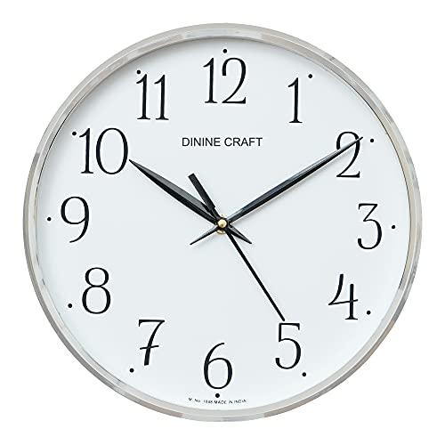 Dinine Craft Plastic Wall Clock (White_26 X 26 Cm)