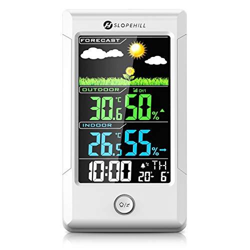 slopehill Stazione Meteo Automatica Digitale Wireless Stazione Meteorologica con Esterno Sensore igrometro termometro, previsioni Meteo, Data, Ora, Sveglia, Retroilluminazione, Schermo LCD colorato