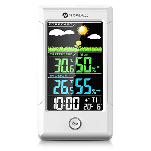 slopehill Wetterstation Funk, Digital Thermometer-Hygrometer mit Außensensor für Innen und außen, weiße Hintergrundbeleuchtung und Uhrzeit Anzeige für Zuhause, Schlafzimmer, Büro