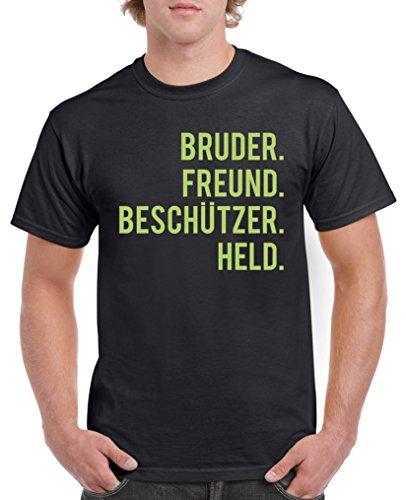 Comedy Shirts – Bruder Ami. Protections Held. T-shirt pour homme – Col rond, 100 % coton, manches courtes, T-shirt basique imprimé - Noir - X-Large