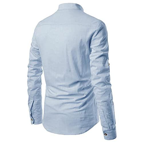 pamkyaemi Henleyshirt Herren Langarmshirt Baumwolle Stehkragen Business T-Shirt Longsleeve Langarmshirt Moderner Gym Bodybuilder Trainingsshirt Muskelshirt Achselshirt Laufshirt