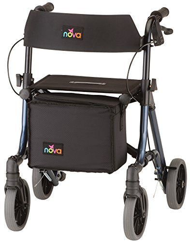 "NOVA Forte Rollator Walker with 20"" Seat Height, Easy to Fold and Carry Rolling Walker, Blue"