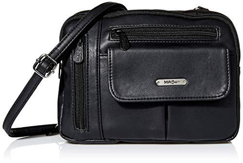 MultiSac Zippy Triple Compartment Crossbody Bag, Black (Vintage Nappa)