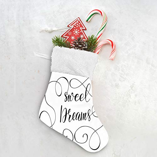 FULIYA Saying, Inspirational Text with Modern Romantic Calligraphy Design and Swirls,Black and White Merry Christmas Banner - Burlap Sock Shaped Christmas Decoration