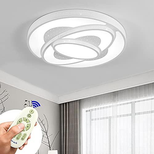 Lámpara De Techo Moderna, 60W Astronave Plafon Luz De Techo Regulable LED Lamparas De Dormitorio Sala De Estar Comedor Estudio Habitación Redondo Luz De Techo (Blanco 60W Regulable)