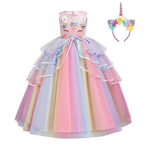 Disfraz de unicornio para beb o nia, diseo floral de princesa, tut canaval de cumpleaos, arcoris, con lentejuelas arcoris 3-4 Aos