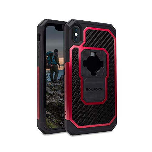 Rokform – iPhone XS/X Magnetic Case with Twist Lock, Aluminum & Carbon Fiber Magnetic iPhone Case Fuzion Pro Series (Red)