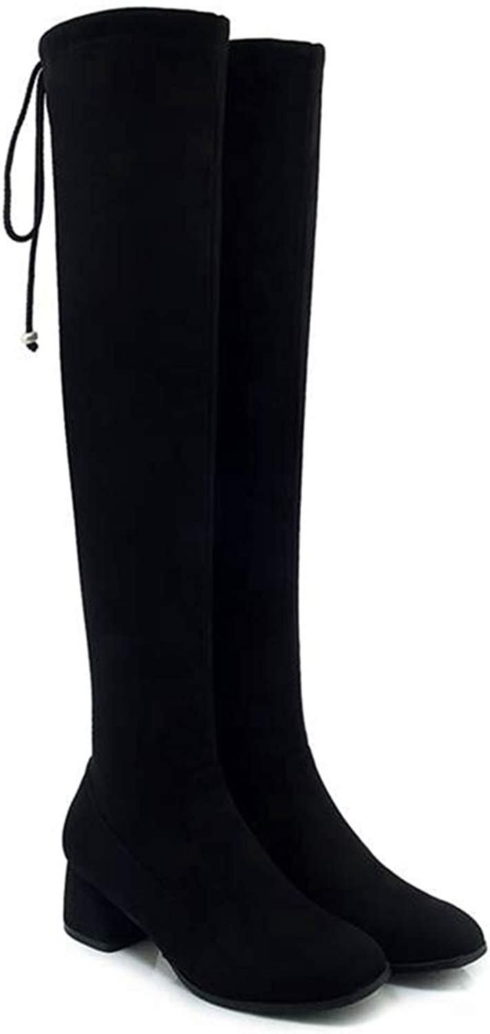 GEORPE Over The Knee Boots Lace Up Square High Heel Thigh High Flock Boots