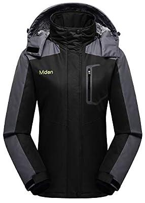 Mden Women's Waterproof Ski Jacket Outdoor Windproof Fleece Insulated Snowboard Rain Jacket