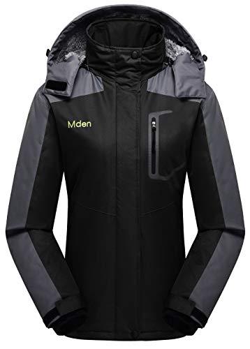 Mden Women's Insulated Jacket Snowboard Hooded Waterproof Mountain Ski Jacket Winter Coat(Black,...