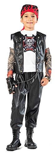 chiber Disfraces Disfraz de Motorista Rockero para Niño (Talla 7 (6-7 años))