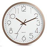 LENRUS Reloj de pared de 30 cm, moderno, de cuarzo, silencioso, segundero silencioso sin tic tac, color rosa dorado
