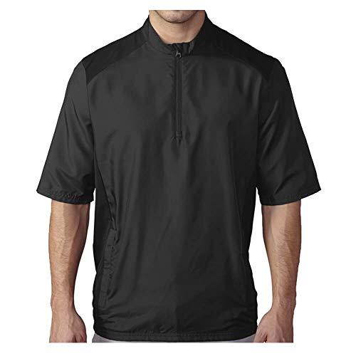 adidas Golf Men's Golf Club Short Sleeve Wind Jacket, Black, Large