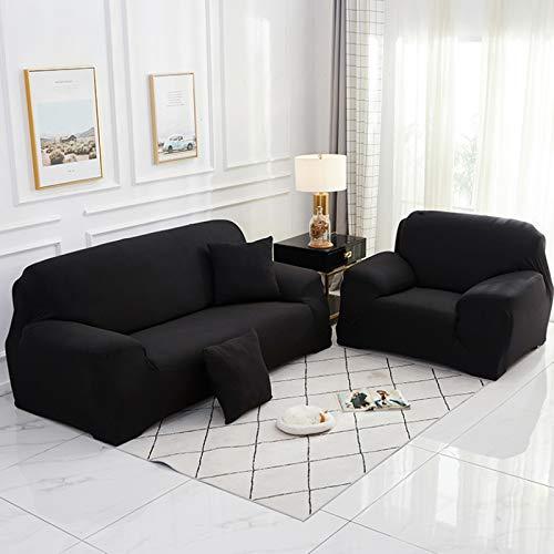 1/2/3/4 Sitzer Sofabezug Sofaüberwurf Stretch Couch Cover Möbel Protector Sofa Slipcover Massivfarbe Lounge Cover Für Kissen Sofa,Schwarz,Chair