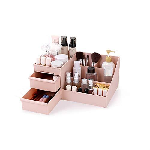 Maquillaje de escritorio Organizador cajones, Cosméticos Almacenamiento de Oficina División Caja Organizador de escritorio de escritorio de escritorio caja de almacenamiento de maquillaje (rosa)
