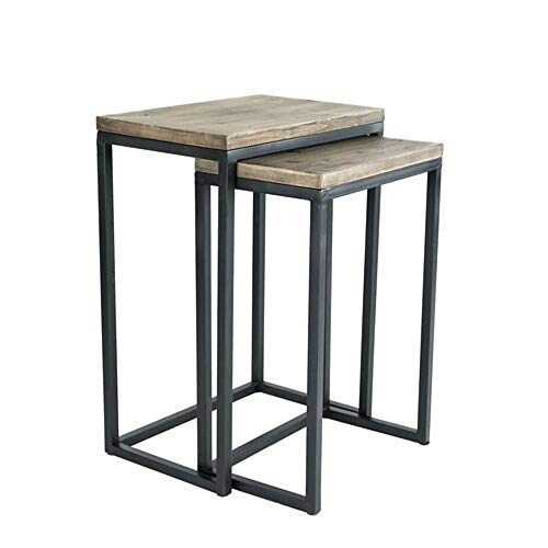 JGS Iron Frame Solid Wood Nesting Tables for Home Set of 2 Stools for Living Room