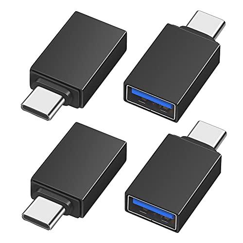 Adaptador USB C a USB 3.0 (Paquete de 4), Adaptador Tipo C a USB A 3.0 OTG Compatible con MacBook, Teléfonos y Tabletas con Puertos USB-C, Negro 4 Piezas