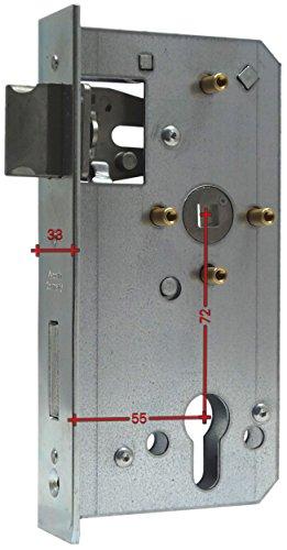 Einsteckschloss für Schlosskasten 30-60mm Rohr Dorn 40 55 60 Schlosseinsatz (für Kasten 40mm Dorn 55mm) links & rechts drehbare Falle …