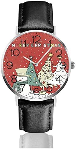 SBLB - Reloj de pulsera de cuarzo con diseño de árbol de nieve de Navidad, con correa de cuero negro para mujeres, hombres, niños y niñas