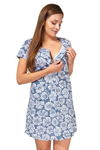 Sibinulo Camicia da Notte di maternità Allattamento Pigiama Corte Cotone Pigiami Allattamento Premaman Fiori Blu Navy L/XL
