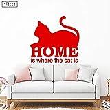 BailongXiao Vinilo para Pared Animal hogar es Donde se Encuentra el Gato Pegatinas de Pared de Vinilo Arte Inspirador Mural decoración de la casa Moderna 44x42cm