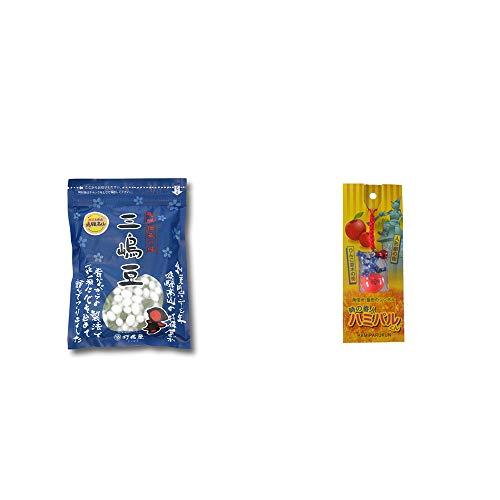 [2点セット] 飛騨 打保屋 駄菓子 三嶋豆(150g)・信州・飯田のシンボル 時の番人ハミパルくんストラップ