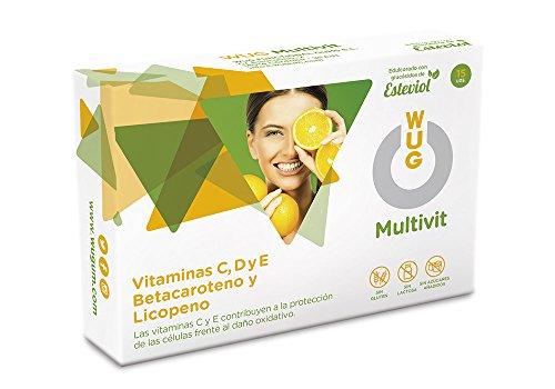 WUG Multivit Chicle | Vitaminas C, D y E, Té Verde y Granada Concentración, Sabor Menta, 15 Unidades
