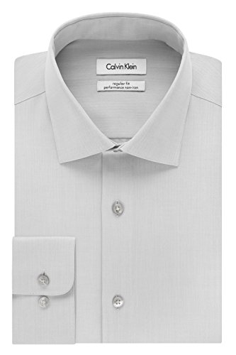 "Calvin Klein Men's Regular Fit Non Iron Herringbone Spread Collar Dress Shirt, Smoke, 17"" Neck 32""-33"" Sleeve"