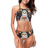 Delerain Traje de baño de cuello alto para mujer con acolchado perezoso conjunto de bikini de 2 piezas, S a XXL - Multi - X-Large