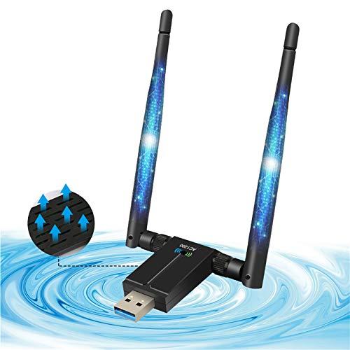 AQOTER Adaptador WiFi de 1200Mbps USB 3.0 de Doble Banda, 2.4GHz 5.8GHz Dongle WiFi con 2X 5dBiAntenas WiFi de Alta Ganancia para PC Portátil de Windows XP Vista  7 8 10 Mac OSX Linux
