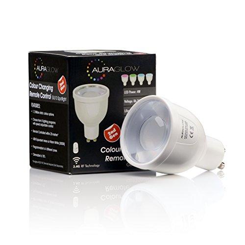 Preisvergleich Produktbild Auraglow LED-Leuchtmittel,  2, 4 GHz,  RF-Fernbedienung,  5 W,  mit Farbwechsel,  GU10,  voll dimmbar,  2.Generation entspricht 50 W