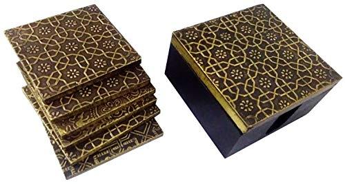 Purpledip houten onderzetters (set van 5): messing plaat bedekt mango-hout servies (11788)