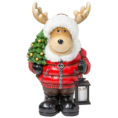 Members Mark Moose with Christmas Tree, Fur Hat and Jacket and LED Lantern - Indoor Holiday Decor - Christmas Decoration