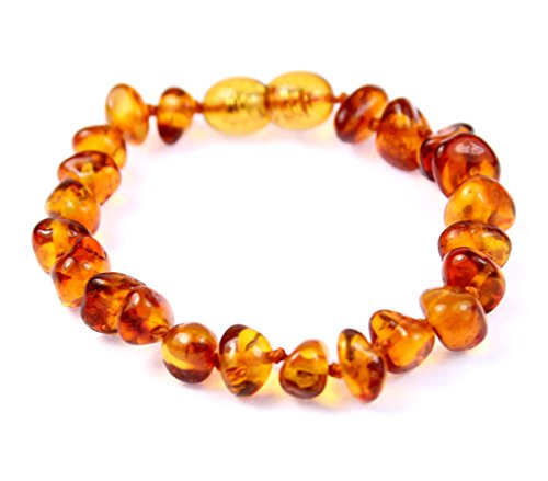 SilverAmber New Baltic Amber Anklet Bracelet Cognac - Handmade 100% Genuine Amber Beads - Premium Quality - Size 13 CM